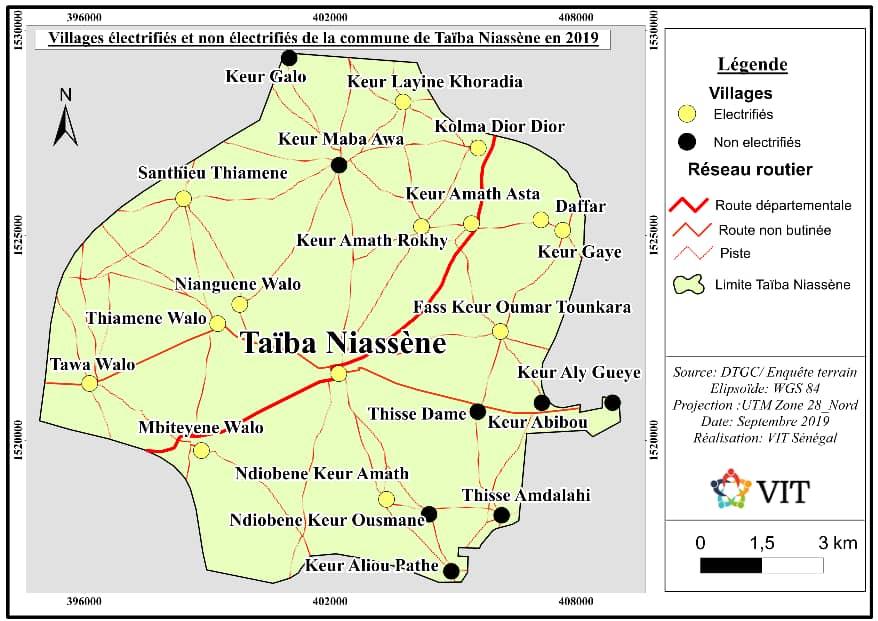 carte des villages électrifiés taiba niassene vit senegal